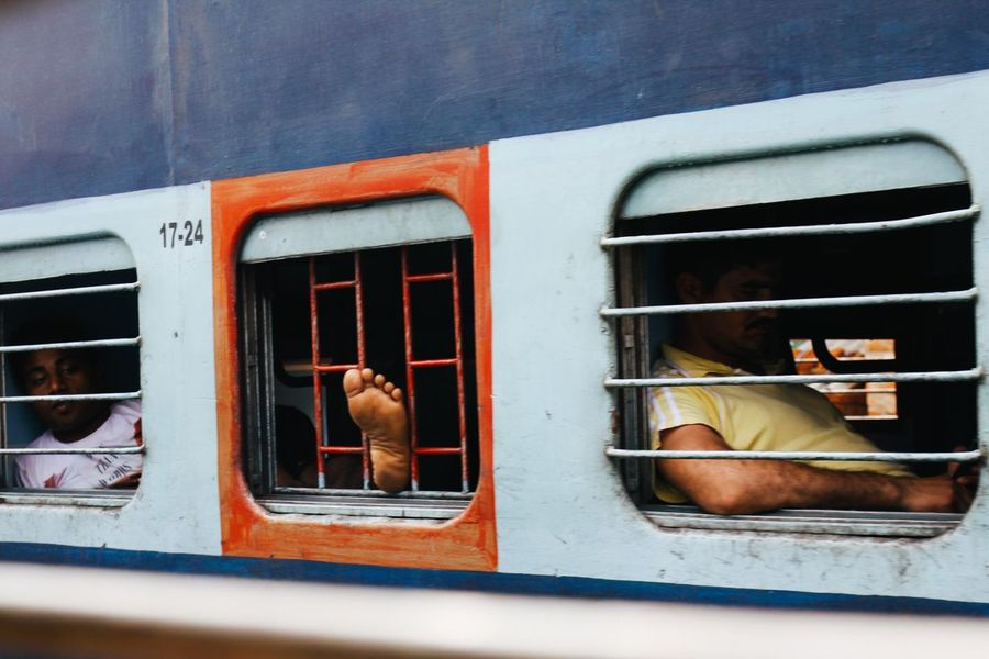 India Train Incredible India Outdoors Foot Journey Colorful Colours Documentary Travel Photography EyeEm Best Shots Check This Out Vscocam Eye4photography  Streetphotography The Week Of Eyeem ASIA VSCO Transportation Men Cultures Window Blue