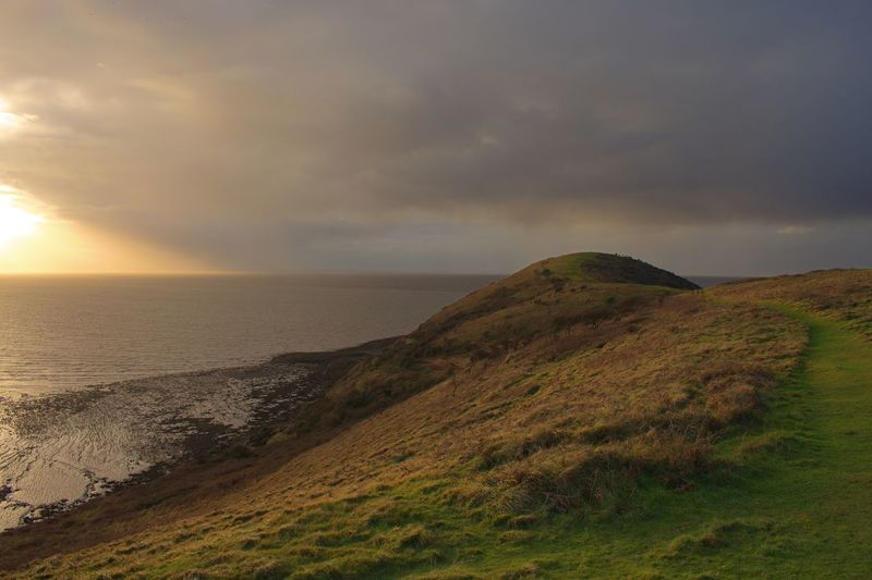 Brean Down Rainy Days English Countryside Storm Clouds Stormy Weather Scenics Beauty In Nature Nature Tranquil Scene Tranquility Sunset Sea Sky Horizon Over Water Landscape Grass Cloud - Sky Outdoors Water No People Day