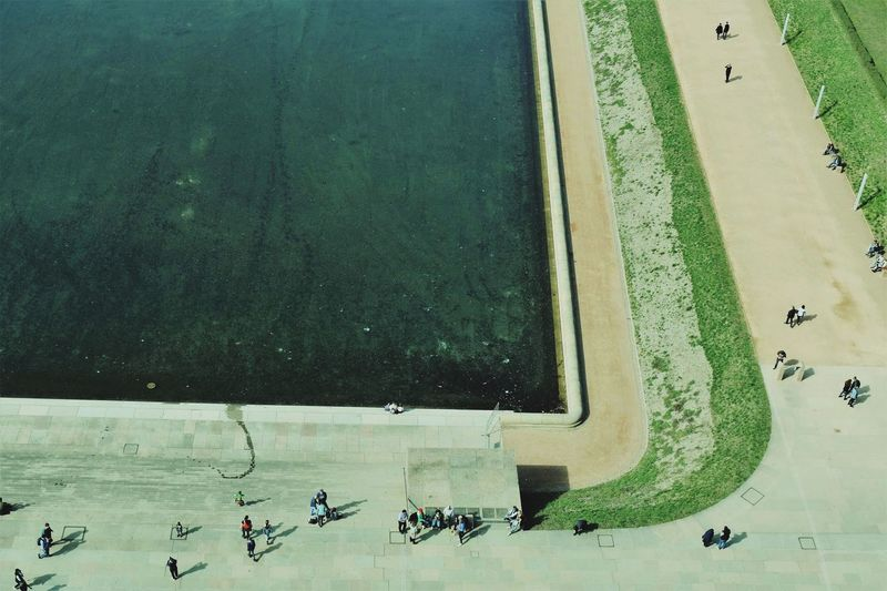 Leipzig Monument Völkerschlachtdenkmal Sightseeing People Walking Stripes Water Grass Grass Sand Springtime Bird Flying Water Aerial View High Angle View Directly Above