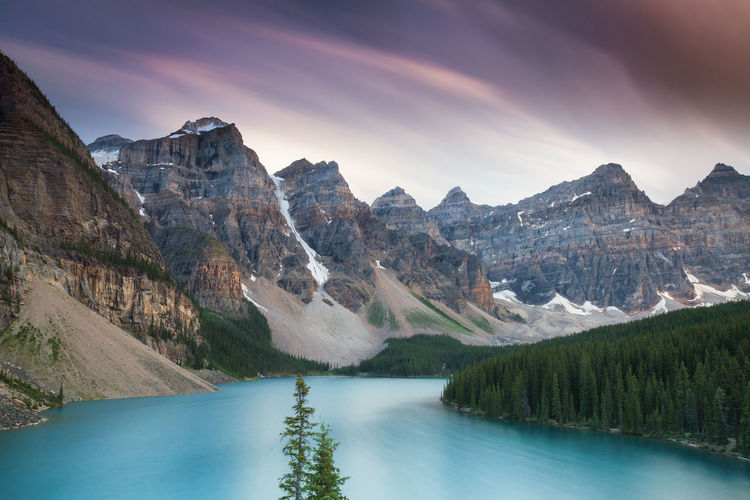 Beautiful Moraine Lake - Long exposure version, Alberta, Canada Alberta Moraine Lake  Beauty In Nature Canada Cloud - Sky Environment Idyllic Lake Landscape Mountain Mountain Peak Mountain Range Nature No People Non-urban Scene Outdoors Reflection Remote Scenics - Nature Sky Tranquil Scene Tranquility Tree Turquoise Colored Water