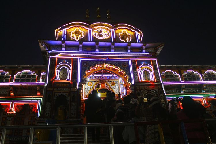 baikund dham badrinath. uttarakhand,india Temple Temple - Building Badrinath Uttarakhand India Cityscape City Illuminated Multi Colored Nightlife Arts Culture And Entertainment Architecture Sky Built Structure
