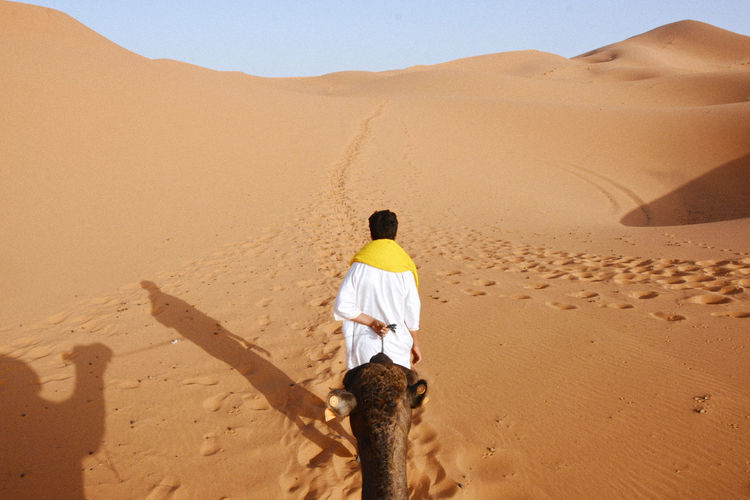 Rear view of man with camel walking on sand dune in desert