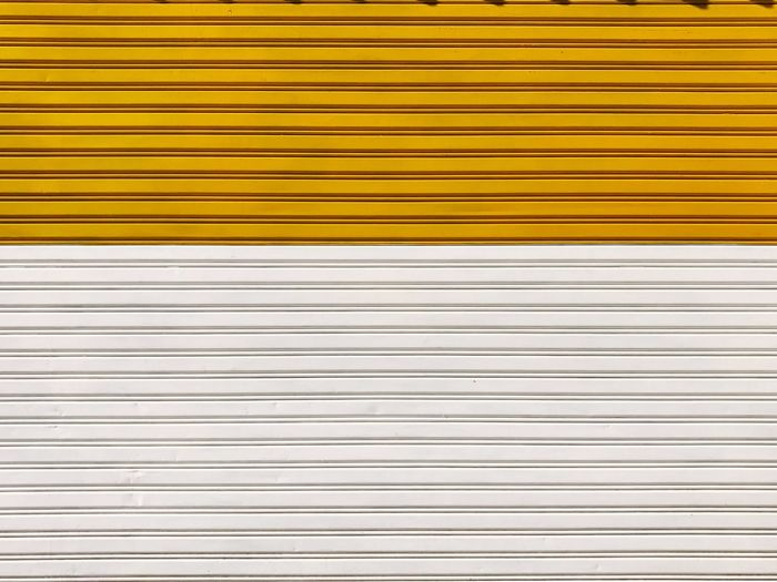 Backgrounds Striped Pattern Textured  Shutter Abstract Metal Yellow Full Frame In A Row Close-up Corrugated Iron No People Outdoors