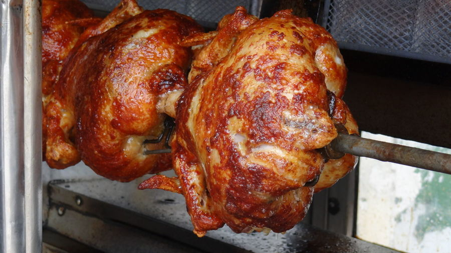 Close-up of chicken on barbecue grill
