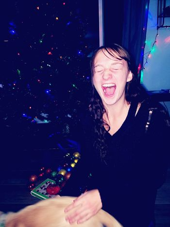 Night Mouth Open People Shouting Nightlife Fun Indoors  Young Adult Party - Social Event Young Women Christmas Lights Christmas Tree Celebration Holiday Laughing Utah Washington Terrace