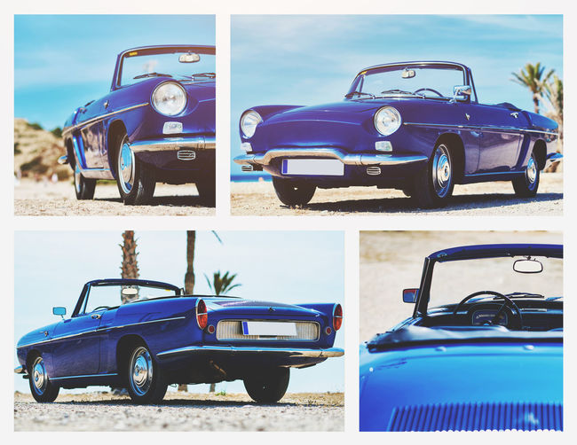 Collage of Renault Caravelle or Renault Floride car on the tropical beach. It is a sports car which was produced by the French manufacturer Renault between 1958 and 1968 Automobile Beach Blue Color Cabriolet Car Car Classic Car Collage Collection Convertible Car Editorial  French Idyllic Scenery Palm Trees Renault Caravelle Renault Floride Retro Car Sandy Beach Sea Sixties Summertime Transport Transportation Vehicle Vibrant Color Vintage Car