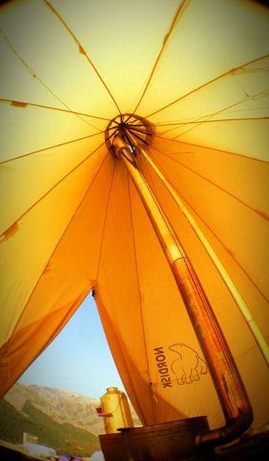 Camping Woodburning Stove Lookingup Tent