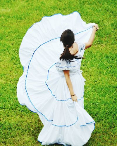 High angle view of woman on field