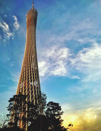 Canton Tower, Guangzhou, China Enjoying Life Eye4photography  EyeEm Best Shots Travel Photography Travel Travel Destinations Buildings & Sky Built Structure Tower Architecture Guangzhou Canton Tower Sky Cloud - Sky Low Angle View Architecture Built Structure Tall - High Nature