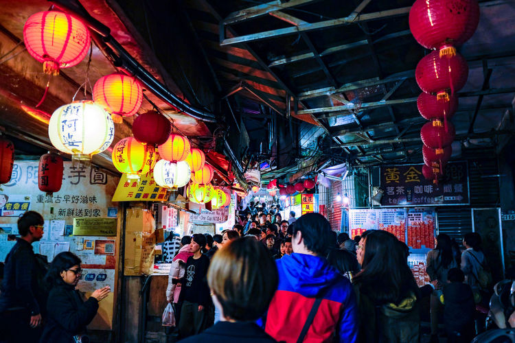 Architecture Bazaar Chinese Lantern Chinese Lantern Festival Chinese New Year Crowd Cultures Illuminated Jiufen Old Street, Taiwan Lantern Large Group Of People Night Outdoors Paper Lantern People Taiwan Jiufen The Photojournalist - 2017 EyeEm Awards The Street Photographer - 2017 EyeEm Awards