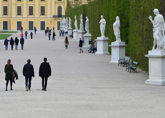 Architecture Castle Park Day Large Group Of People Outdoors Park - Man Made Space People Schonbrunn Garden Schonbrunn Palace Schönbrunn Statues And Monuments Statues In The Park Walking