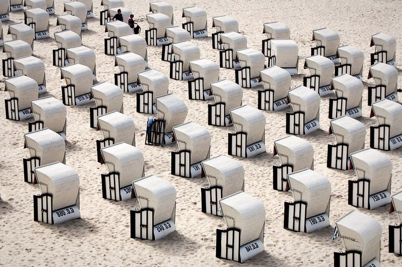 High angle view of chairs in row