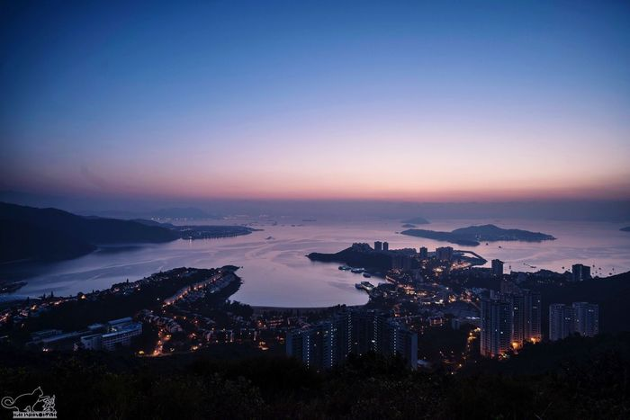 Architecture Building Exterior Cityscape Built Structure Sunset High Angle View Mountain No People City Sea Illuminated Travel Destinations Sky Aerial View Water Scenics Nature Beauty In Nature Night Magic Hour Discovery Bay Hong Kong Sony A7RII SEL1635F4ZA