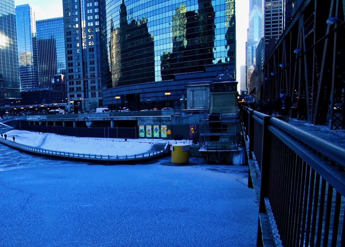 Chicago River frozen on a frigid morning in early January. Chicago Chicago River Chicago Loop Cityscape Downtown Chicago January Rush Hour Architecture Blue Bridge - Man Made Structure Building Exterior Built Structure City Cityscape Cold Temperature Commuters Day Frigid Frozen Water Nature No People Outdoors Pedestrians Riverwalk Skyscraper