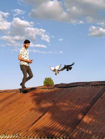 Full length of young man standing by birds on roof