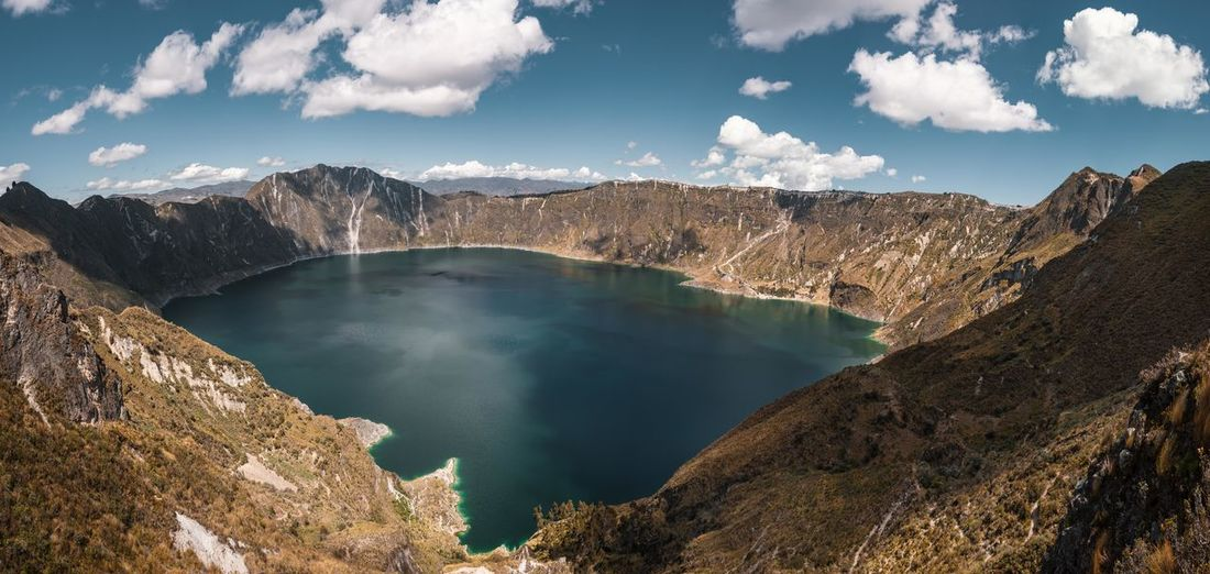Scenic view over lake inside volcanic crater