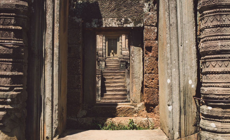 Siem Reap Cambodia Angkor Architecture Building Built Structure No People Old Building Exterior History Day The Past Abandoned Door Weathered Damaged Entrance Obsolete Direction Wood - Material The Way Forward House Run-down Outdoors Deterioration Architectural Column Ruined Ancient Civilization