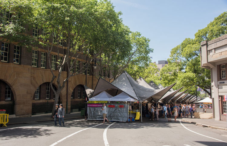 Sydney,NSW,Australia-November 20,2016: Tourists at The Rocks open-air market in Sydney, Australia. Australia Buying Parts Market Shopping The Rocks Tourist Tourist Attraction  Tree Arch Booth Building Exterior Consumerism Crowd Crowded Leisure Activity Market Stall Marketplace Real People Retail  Sails Stall Sydney Tourism Vendor Weekend Activities