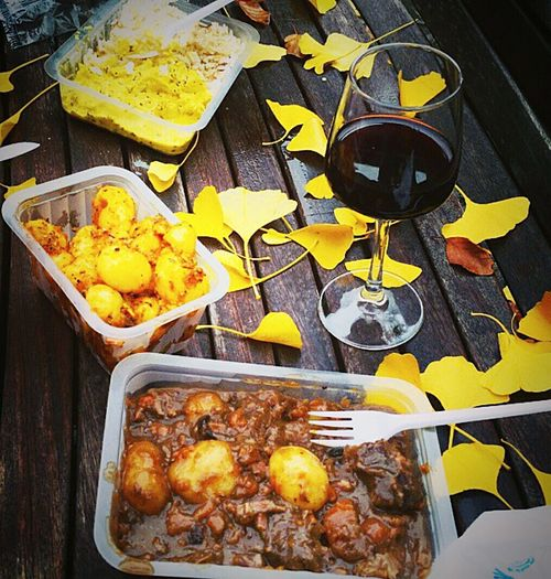Show Us Your Takeaway! Bologna Streetfood Rise Potato Goulash and Merlot Redwine buon appetito!