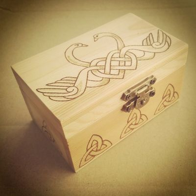 Celtic Swan Woodburned box. Forever love <3 Soon to be listed on our shop!