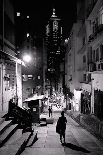 Night Street at Midlevels HongKong Discoverhongkong Leica Leicaq Nightphotography Streetphotography Streetphoto_bw Streetlights Light And Shadow Blackandwhite Hkiger 香港 夜景 白黒