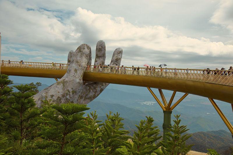 Vietnam Architecture Beauty In Nature Bridge Cloud - Sky Danang Golden Bridge Nature Sky