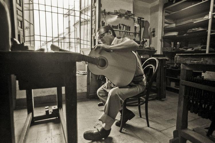 Craftsman Guitar Indoors  Luthier Luthier Workshop Musical Instrument One Person Workshop