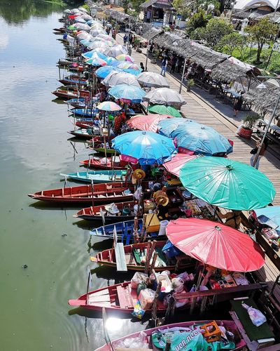 High angle view of boat market stall in lake