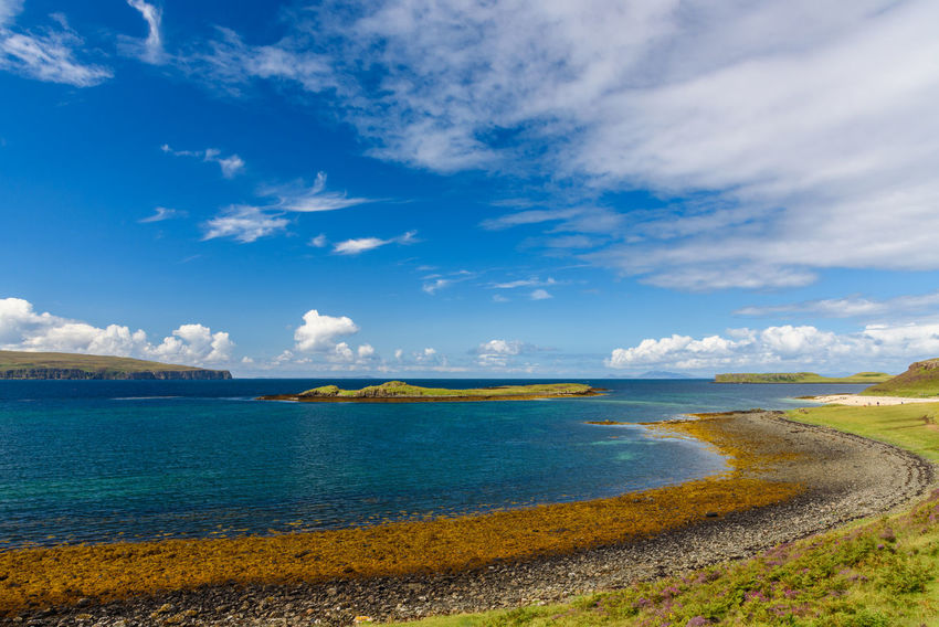 Coral Beach, Isle Of Skye Beauty In Nature Blue Cloud - Sky Day Horizon Over Water Landscape Nature No People Outdoors Scenics Sea Sky Tranquil Scene Tranquility Water