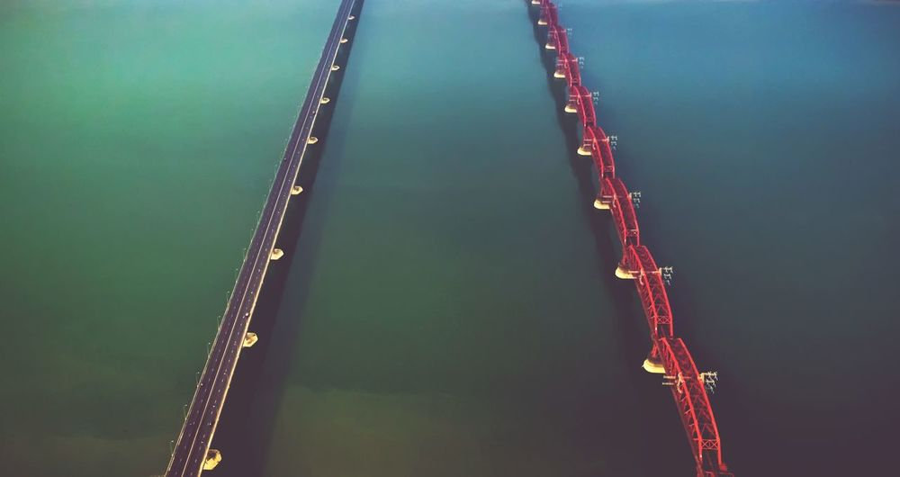 Bridge - Man Made Structure Double Aerial View Aerial Shot Aerial Photography Water Nautical Vessel Industry Offshore Platform Crude Oil Office Building Commercial Dock Crane - Construction Machinery Container Ship Drilling Rig Moored Harbor Freight Transportation Construction Tall - High Drill Cargo Container The Great Outdoors - 2018 EyeEm Awards The Still Life Photographer - 2018 EyeEm Awards