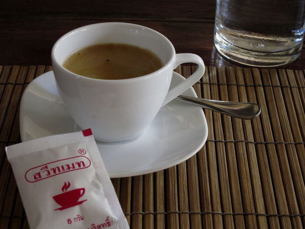 Bamboo Table Black Coffee Coffee Cup Of Coffee Foamy Coffee Luang Prabang, Laos Sugar Sugar Sachet White White Color White Cup