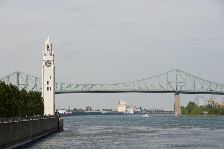 Clock Tower - Montreal - Canada Jacques Cartier Bridge Montréal Bridge Built Structure Canada Clock Tower Old Port River St Lawrence River