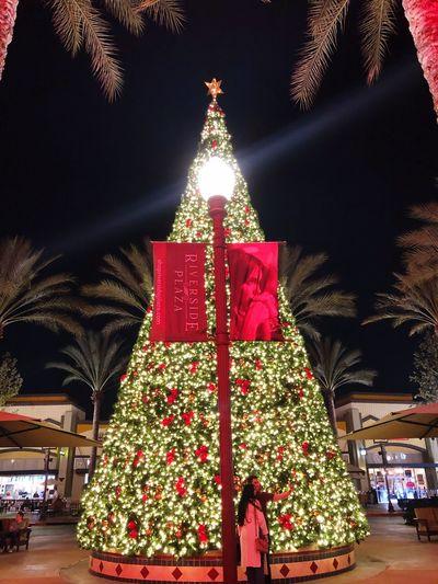 A Big 🎄 Christmas Tree Illuminated Celebration Decoration Night christmas tree Christmas Decoration Christmas Lights Holiday Low Angle View