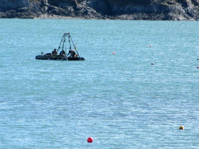 Taking marine samples Marine Research Environment Protection Raft Rocky Coastline Atlantic Ocean Mizen Peninsula West Cork Ireland