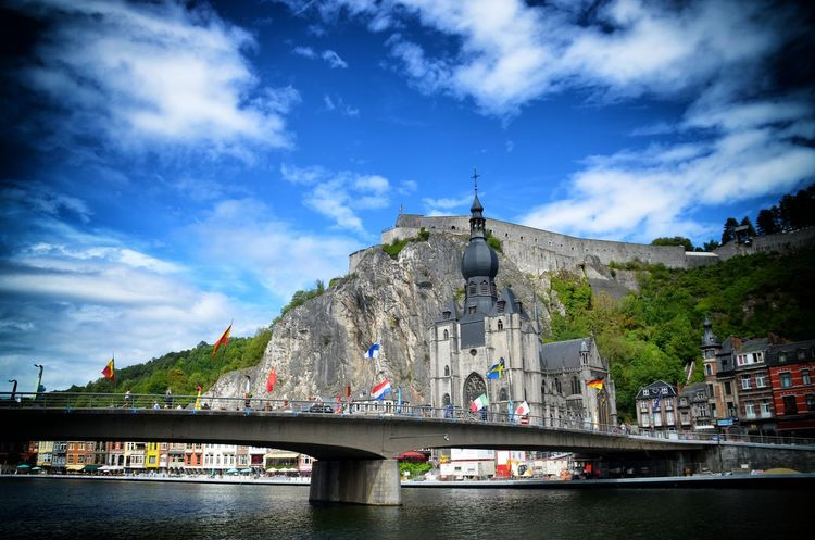 Belgium Dinan Dinant Belgium Maas Bridge Citadel Cityview Riverview