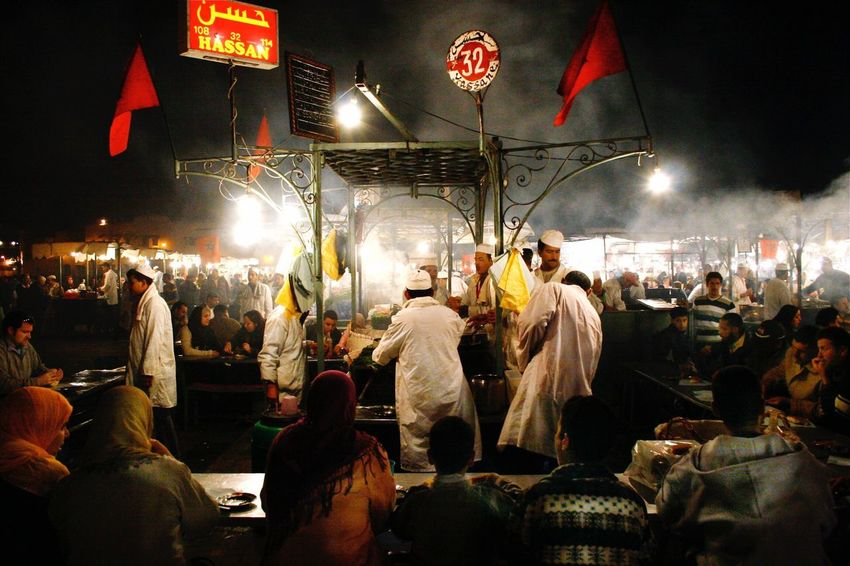 Marrakesh Large Group Of People City Night Outdoors Food Market Market Stall Night Bazaar