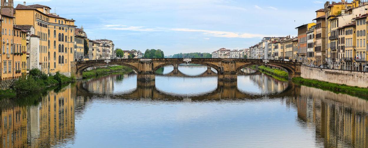 Bridge Over River Along Buildings