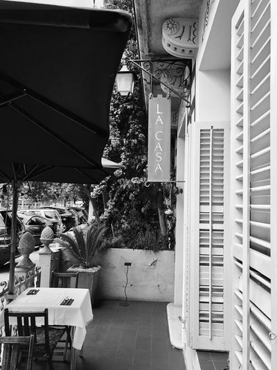Restaurant IPhoneography Iphonephotography Iphoneonly Blackandwhite Black And White Black & White Blackandwhite Photography BW_photography Bw_collection EyeEmNewHere Restaurant Table Built Structure Architecture Building Exterior Building No People Decoration Day Window
