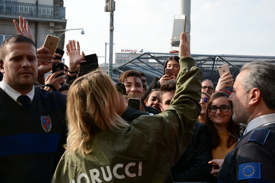"""Naples, Italy. 27th Jan, 2018. Emma Marrone italian pop singer meets her fans and signs the copies of her latest album """"Essere qui"""" at Feltrinelli Library. Emma Emma Marrone Naples Napoli New York Sing Singer  Album Campania Essere Qui Italian Singer Italy New Album Singstar Song"""