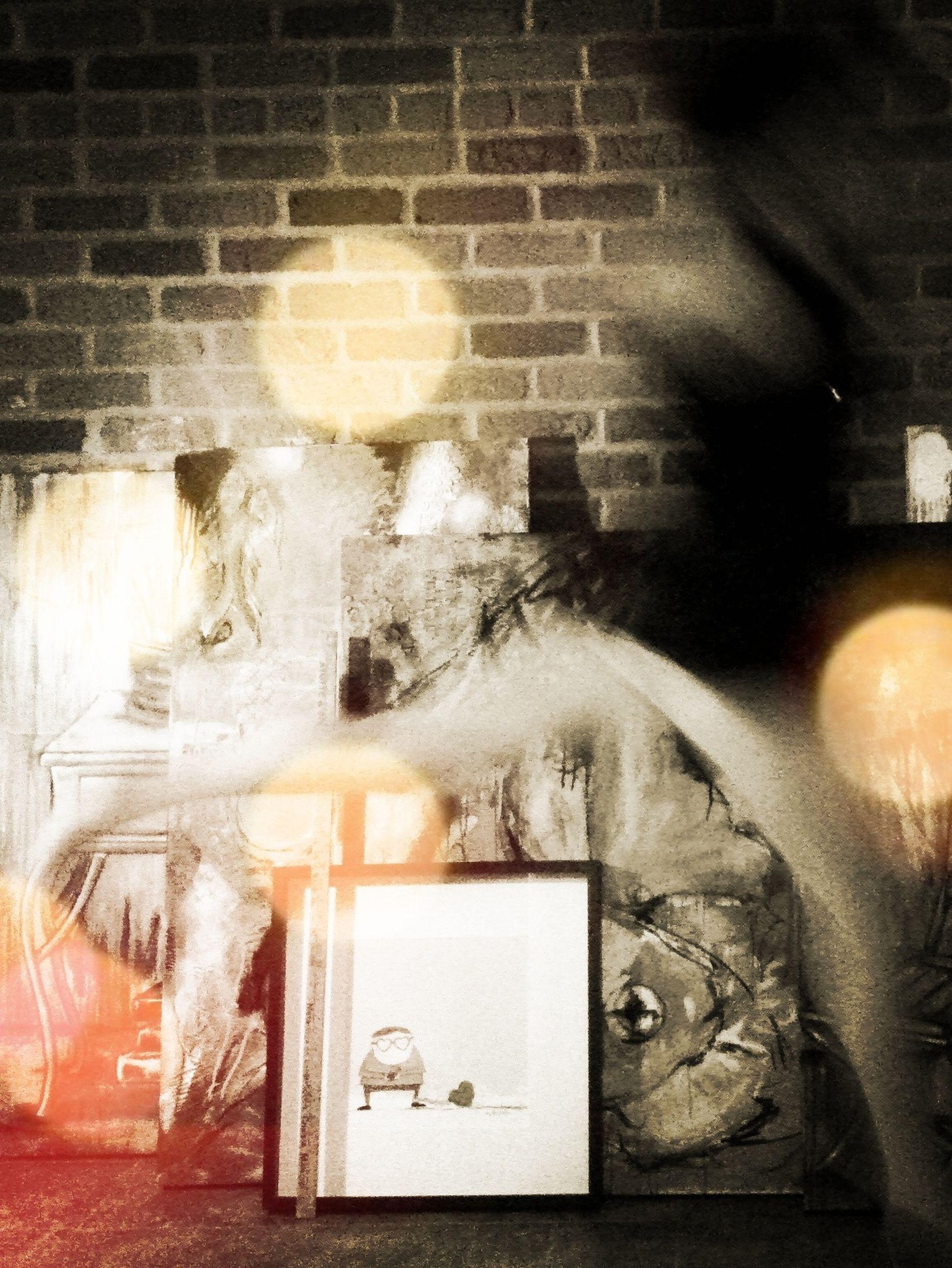 indoors, wall - building feature, art and craft, art, creativity, domestic animals, domestic cat, cat, human representation, animal representation, no people, animal themes, pets, reflection, close-up, mammal, wall, built structure, illuminated, graffiti