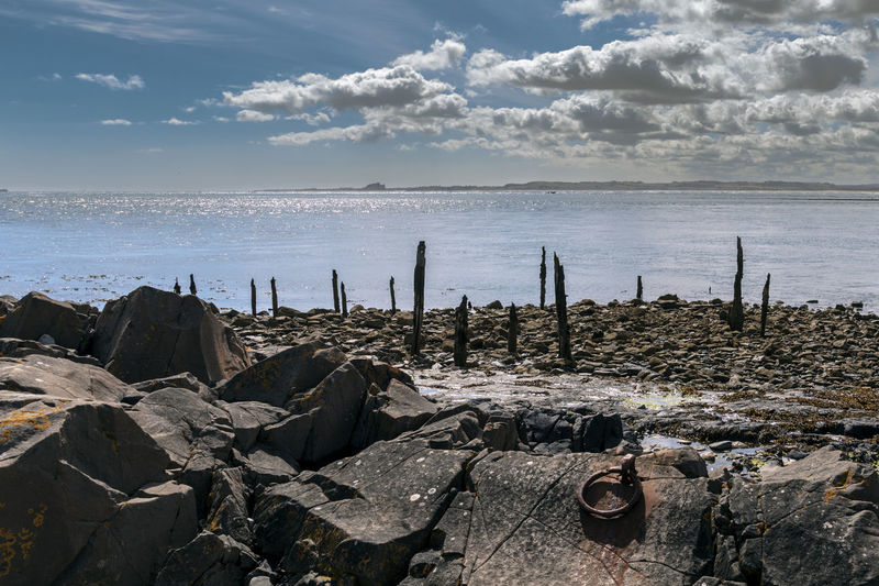 Bamburgh view Bamburgh Beauty In Nature Cloud - Sky Day Horizon Over Water Lindisfarne Nature No People Outdoors Scenics Sea Seaview Sky Tranquility Water Wooden Post