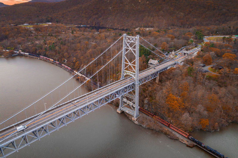 Drone  Drones Aerial View Architecture Autumn Bridge - Man Made Structure Built Structure Connection Day Drone Photography Dronephotography Droneshot High Angle View Landscape Nature No People Outdoors River Road Sky Suspension Bridge Transportation Travel Destinations Tree Water