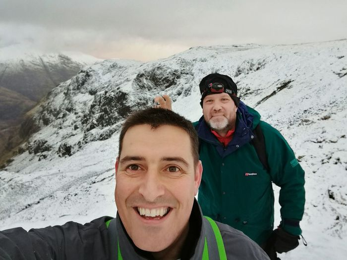 Three quarters up The Three sisters Scotland with good mate Archie Love Yourself Snow Winter Two People Adults Only Portrait Looking At Camera Togetherness Mountain Men Adventure Cold Temperature