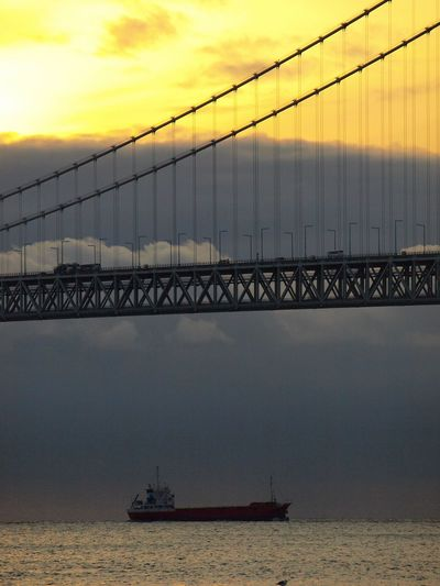 Akashi kaikyo bridge Japan Cloud Sunset Sunset_collection Hello World Ilovecameras Feeling Myself  Mylove Colors Enjoying Life Nature Landscape_Collection Ships Kobe Sky Water Bridge