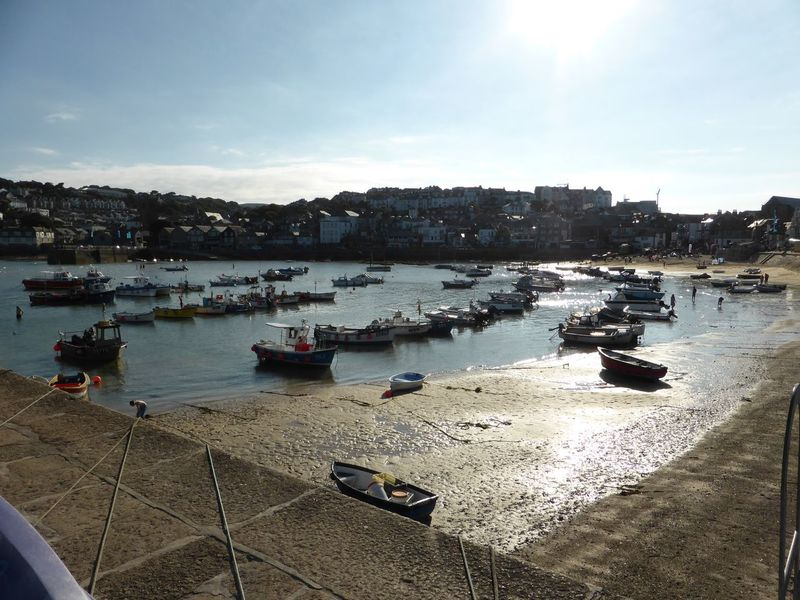St Ives Harbour Harbour Boats Blue Sky Sun Reflection On Water Beach Sunlight On Sand