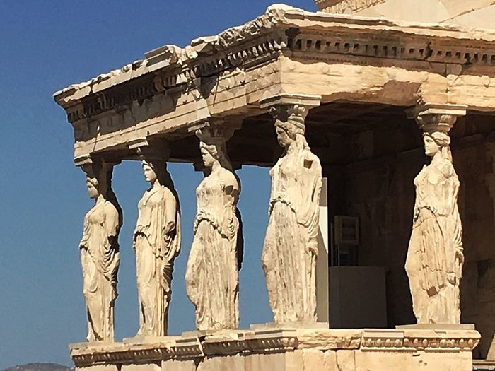 Greece History Old Ruin Architecture Low Angle View Carving - Craft Product Sculpture Built Structure Statue Ancient Civilization Human Representation Travel Destinations Day Archaeology Outdoors Architectural Column Ancient No People Sunlight Building Exterior Sky