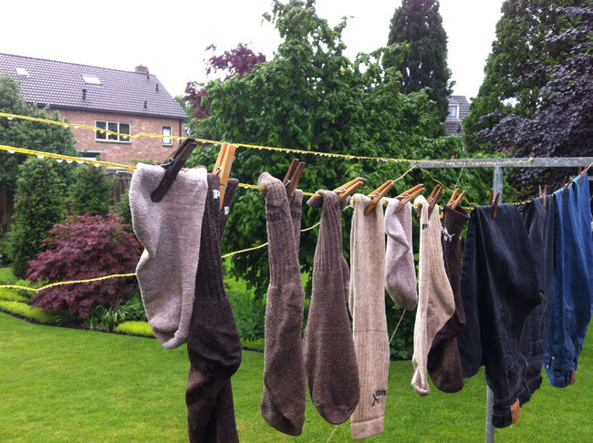 Drying clothes in the rain