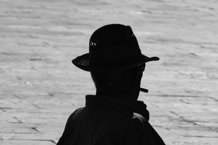 Black And White Close-up Day Man In Profile Man With Hat Nature Outdoors Silhouette Smoking Man