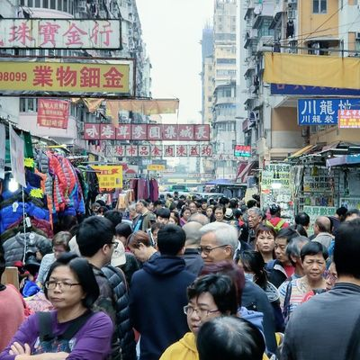 Hong Kong Sham Shui Po Sham Shui Po HongKong Crowd City Men Women Street Architecture Building Exterior Built Structure Protestor Crowded Thai Flag Political Rally Rooftop Banner - Sign Pedestrian Marching Urban Scene Election Placard President Marching Band Riot Parade Housing Settlement Downtown District Rush Hour