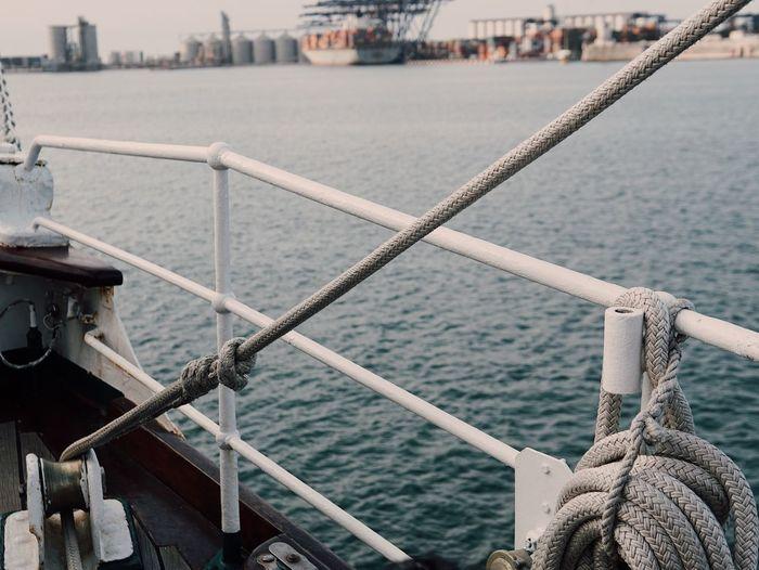 Sail away Water Nautical Vessel Transportation Rope Sea Mode Of Transportation Architecture Bay Ship Harbor Railing